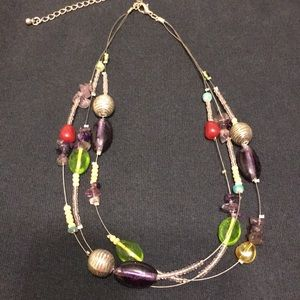 Jewelry - Silver and multi-stone, beaded 3 strand necklace